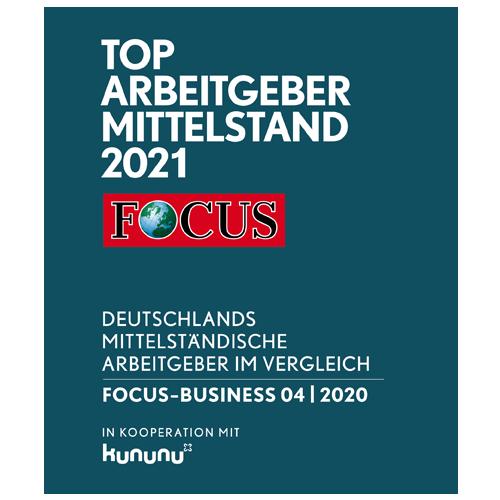 Logo  TOP-Arbeitgeber Mittelstand 2021 (Focus)
